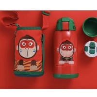 Thermos Bottle Kids 630ml Stainless Steel with 3 Lids Straw Cute Little Monkey for Boys Girls