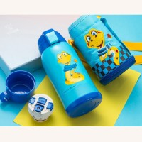 Thermos Bottle Kids 630ml Stainless Steel with 3 Lids Straw Cute Snake Pattern for Boys Girls