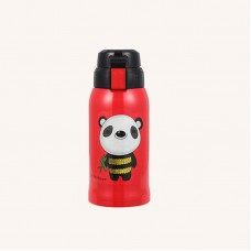 Thermos Bottle Kids 600ml Stainless Steel with 3 Lids Straw Giant Panda Pattern for Boys Girls