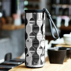 Thermos Water Bottle Stainless Steel 350ml Reflective Silver Curved Mirror Design