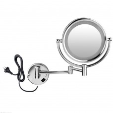 """8.5"""" Wall Mount Lighted Makeup Mirror Folding 10x Magnification Double-Sided Chrome Finish"""