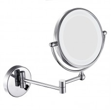 """8"""" Wall Mount Lighted Makeup Mirror Folding 3x Magnification Double-Sided Chrome Finish"""