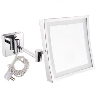 """8"""" Square Wall Mount Lighted Makeup Mirror Folding 3X Makeup Mirror Chrome Finish"""
