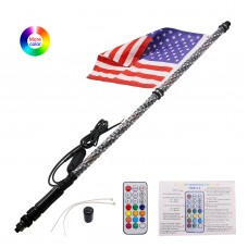 1PC 3FT Color LED Whip 360° Wrapped+Quick Release Base Remote Control for Racing Buggy ATV UTV