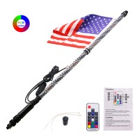 1PC 4FT/1.2M RGB LED Whip 360° Spiral+Quick Release Base Remote Control for ATV/UTV