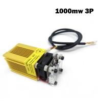 1000mW Laser Module 1W Blue Violet 445nm 3P 12V with TTL/PWM Adjustable Focus Golden