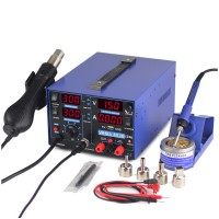 3 In 1 Soldering Rework Station 110V + Hot Air Gun + 15V 2A DC Power Supply 853D USB 2A