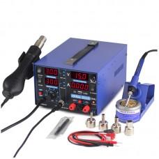 3 In 1 Soldering Rework Station 220V + Hot Air Gun + 15V 2A DC Power Supply 853D USB 2A