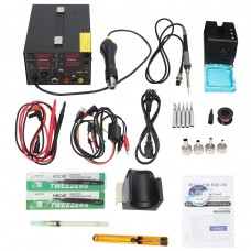 3 In 1 Soldering Rework Station 110V + Hot Air Gun + DC Power Supply with Full Accessories 909D+