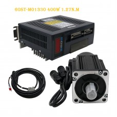 60ST-M01330 AC Servo Motor Kit 400W 1.27N.M + Servo Drive + Cables for CNC Machine