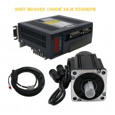 90ST-M04025 AC Servo Motor Kit 1000W 4N.M 2500RPM + Driver + Cables Servo Motor Kit
