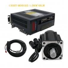 130ST-M06025 AC Servo Motor Kit 1.5KW 6N.M + Driver + Cables Servo Motor Kit
