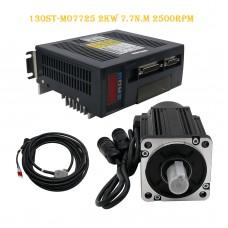 130ST-M07725 AC Servo Motor Kit 2KW 7.7N.M 2500RPM + Driver + Cables Servo Motor Kit