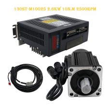 130ST-M10025 AC Servo Motor Kit 2.6KW 10N.M 2500RPM + Driver + Cables Servo Motor Kit