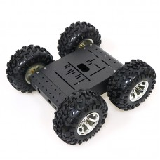 4WD Smart Robot RC Car Chassis Kit Aluminum Alloy Black Wheels + 12V Motors without Encoder C3