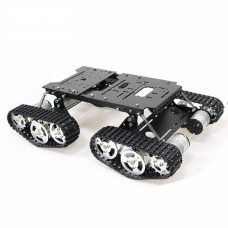 4WD Robot Tank Chassis Kit Black Chassis Shock Absorbing + 4pcs 12V 300RPM Motors with Encoder