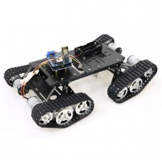 4WD Robot Tank Chassis Kit Black Chassis + Joystick Control + 4pcs 12V 300RPM Motors with Encoder