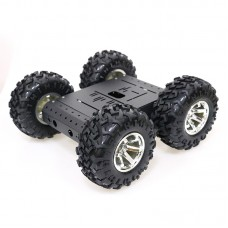 4WD Smart Robot Car Chassis Kit for Arduino Aluminum Alloy Black Wheels + 12V High-Power Motors C3