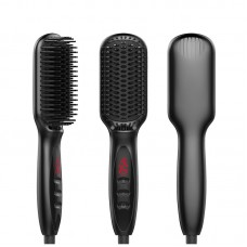 Electric Hair Straightening Brush Straightening Comb with LCD Display Black US Standard Plug