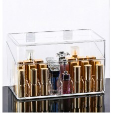 Lipstick Organizer Clear Lipstick Holder Makeup Organizer Box with Removable 24-Grid Shelf