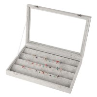 Velvet Earring Organizer Tray Earring Display Case with Clear Glass Lid Jewelry Storage Box Fit Most Room Space
