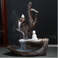 Backflow Incense Burner Waterfall Purple Sand Buddha Incense Burner with Monk