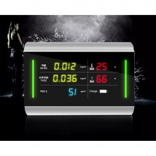 6 In 1 Air Quality Monitor PM2.5 HCHO TVOC Temperature Humidity Power Indicator