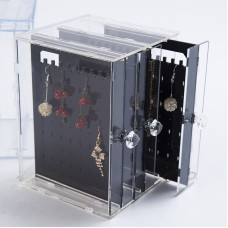 3-Drawer Acrylic Earring Display Stands Jewelry Display Stand w/ Black Panels for 108 Pairs Earrings