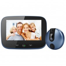 Ring Video Doorbell 2MP 145° Peephole Viewer Camera 4.3Inch Screen IR Night Version M100- blue
