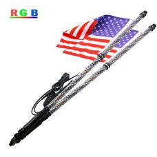 2pcs 4FT/1.2M RGB LED Whip 360° Spiral & Quick Release Base Remote Control for ATV UTV NA101