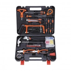 82Pcs Hardware Tool Kit Car Tool Wrench Socket Pliers Hammer Hacksaw+ Carry Box Home