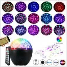 16-Color LED Stage Lights Bluetooth Speaker Crystal Magic Ball Light Remote Control USB 5V