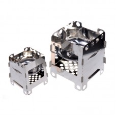 Stainless Steel Camping Stove w/ Storage Pouch Outdoor Alcohol Stove Wood Burning Stove