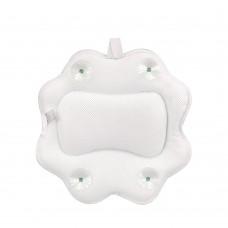 Non-Slip Spa Bathtub Pillow Sunflower Shape Machine Washable 5D Air Mesh w/ Suction Cups Hook White