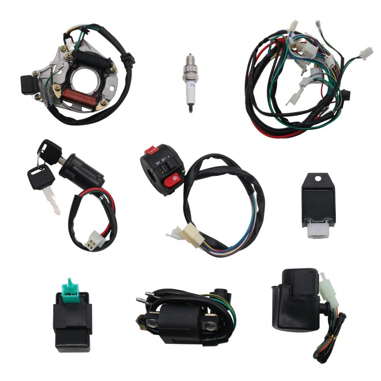 Black Wiring Harness Coil Replacement Parts For 50//70//90//110CC ATV Go Kart Set