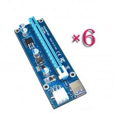 6pcs Pci-e Riser Pcie Extender Pcie 16x Extender PCI-E 1X to 16X Cable 6Pin DC-DC Graphics Card Extension