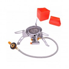 Foldable Camping Outdoor Gas Burner Stove Mini Backpacking Stove Windproof w/ Red Storage Box