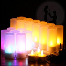 12 Flickering Rechargeable LED Tea Light Candles Flameless for Dinner Wedding Party