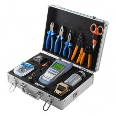 Fiber Splicer Tools Kit w/ SKL-80C Fiber Cleaver Optical Power Meter 10KM Visual Fault Locator Box