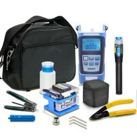 Fiber Optic Tool Kit Assembly w/Fiber Cleaver 5KM Visual Fault Locator Optical Power Meter Carry Bag
