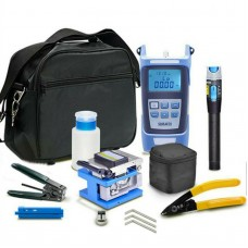 Fiber Optic Tool Kit Assembly w/Fiber Cleaver 5KM Visual Fault Locator Optical Power Meter Carry Bag