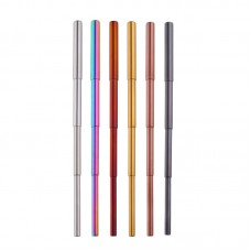 2 Sets of Telescopic Straw Reusable Stainless Steel & Cleaning Brush & Storage Bag Silvery