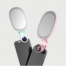 3 In 1 Phone Camera Wide Angle Lens + Phone LED Flash + Mobile Makeup Mirror F-528