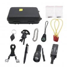 EDC Tool Kit EDC Survival Kit Emergency Equipment Outdoor Hiking Camping w/ Chain Black EDC Box