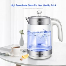 2200W 1.8L Electric Glass Kettle BPA-Free Tea Coffee Pot w/ LED Blue Light