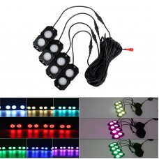 OL-19RGB04 RGB LED Rock Lights 4 Pods Mobile Phone Bluetooth Control for Jeep Truck ATV SUV Car Boat