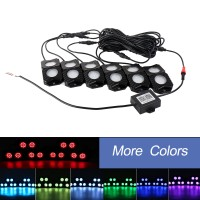 OL-19RGB06 RGB LED Rock Lights 6 Pods Mobile Phone Bluetooth Control for Jeep Truck ATV SUV Car Boat
