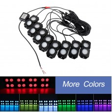 OL-19RGB08 8 Pod RGB LED Rock Lights Mobile Phone Bluetooth Control for Jeep Truck ATV SUV Car Boat