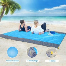 210x200cm Waterproof Beach Mat Outdoor Picnic Blanket Rug Mattress + Storage Bag + 4 Stakes + Buckle
