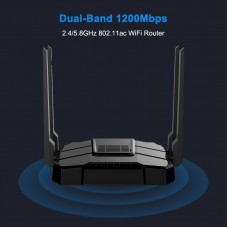 WG108 1200Mbps Wireless Router Dual Band Gigabit 2.4GHz & 5.8GHz 4 LAN Ports Support TF Card